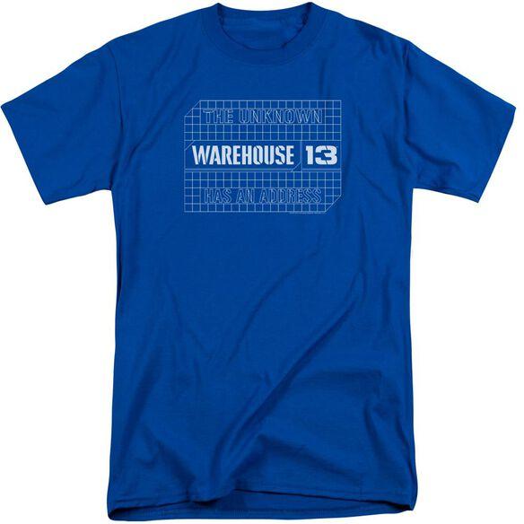 Warehouse 13 Blueprint Logo Short Sleeve Adult Tall Royal T-Shirt