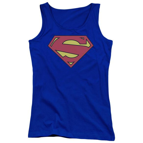 Superman New 52 Shield Juniors Tank Top Royal