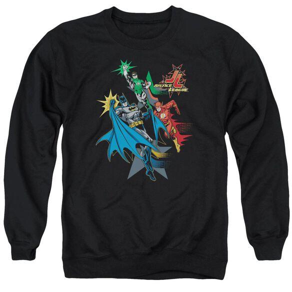 Jla Action Stars Adult Crewneck Sweatshirt