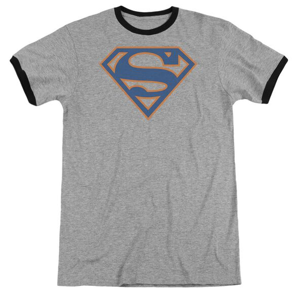 Superman Blue & Orange Shield Adult Ringer Heather Black
