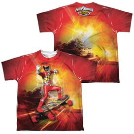 Power Rangers Skater (Front Back Print) Short Sleeve Youth Poly Crew T-Shirt
