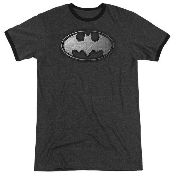 Batman Duct Tape Logo Adult Heather Ringer Charcoal