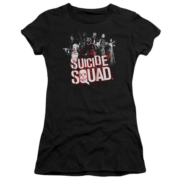 Suicide Squad Squad Splatter Short Sleeve Junior Sheer T-Shirt