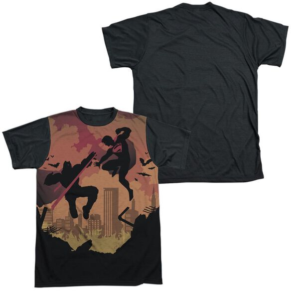 Batman V Superman Silhouette Fight Short Sleeve Adult Front Black Back T-Shirt