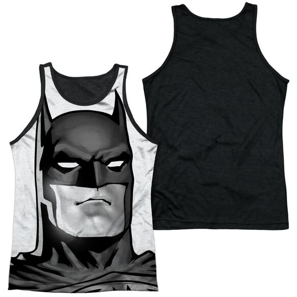Batman Bw Bat Head Adult Poly Tank Top Black Back