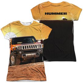 Hummer Sunset Ride (Front Back Print) Short Sleeve Junior Poly Crew T-Shirt