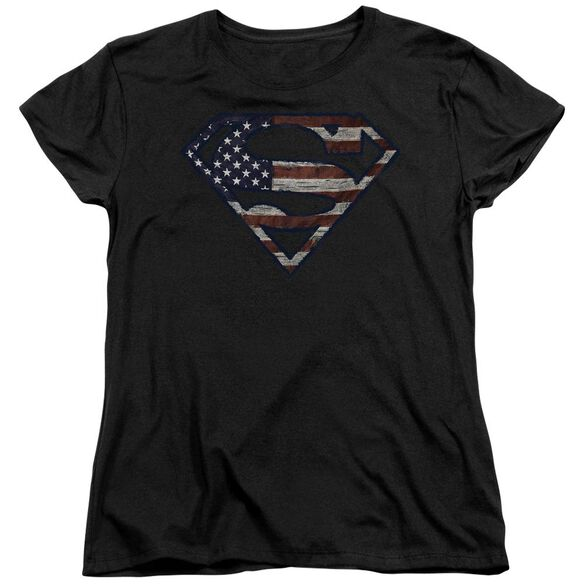 Superman Wartorn Flag Short Sleeve Womens Tee T-Shirt