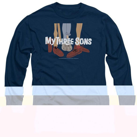 MY THREE SON HOES LOGO - L/S ADULT 18/1 - NAVY T-Shirt