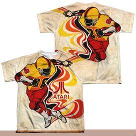 Atari Football (Front Back Print) Short Sleeve Youth Poly Crew T-Shirt