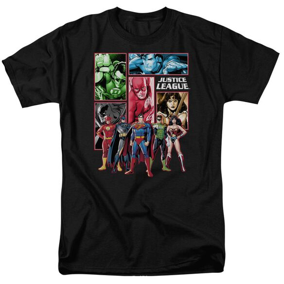 Jla Justice League Panels Short Sleeve Adult T-Shirt