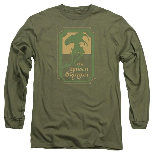 Lord Of The Rings Dragon Tavern Long Sleeve Adult Military T-Shirt