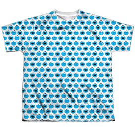 Sesame Street Simple Cookie Pattern Short Sleeve Youth Poly Crew T-Shirt