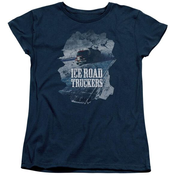 Ice Road Truckers Ice Road Short Sleeve Womens Tee Navy T-Shirt