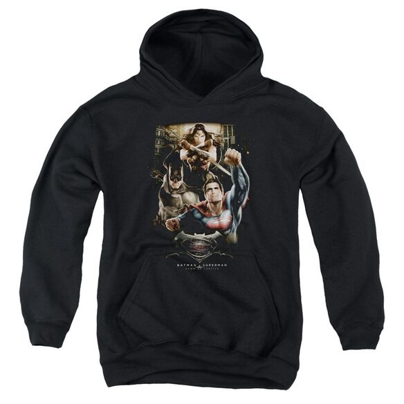 Batman V Superman Three In Action Youth Pull Over Hoodie