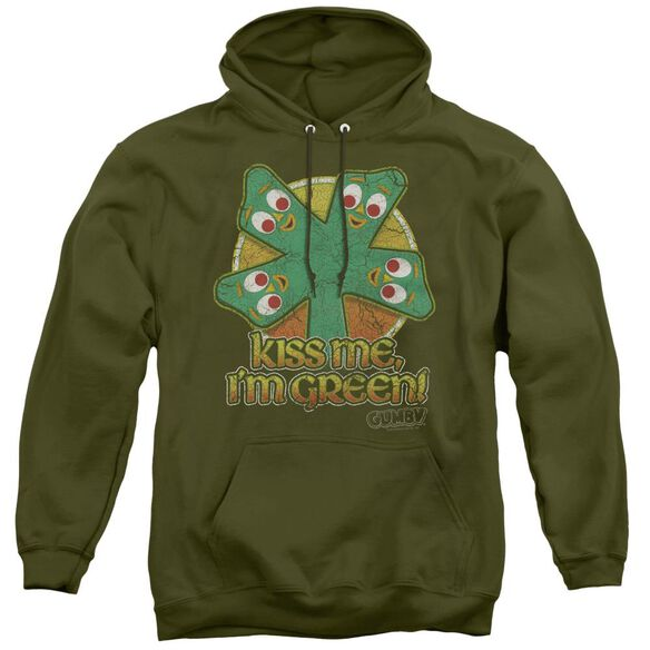 Gumby Kiss Me - Adult Pull-over Hoodie - Military Green