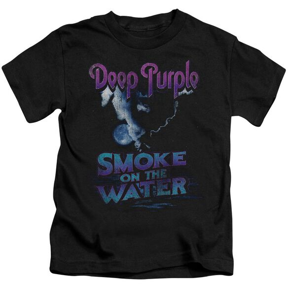 Deep Purple Smokey Water Short Sleeve Juvenile Black T-Shirt
