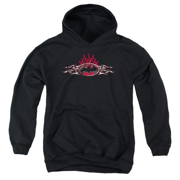 Batman Steel Flames Logo Youth Pull Over Hoodie