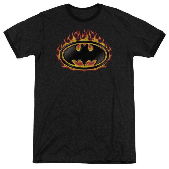 Batman Bat Flames Shield Adult Heather Ringer