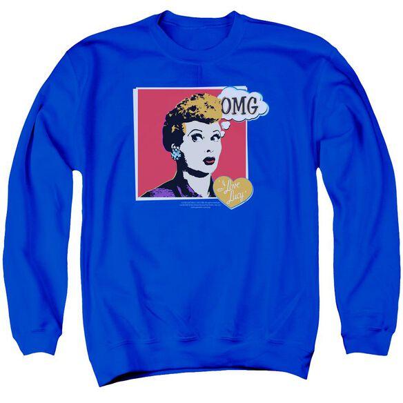 I Love Lucy I Love Worhol Omg Adult Crewneck Sweatshirt Royal