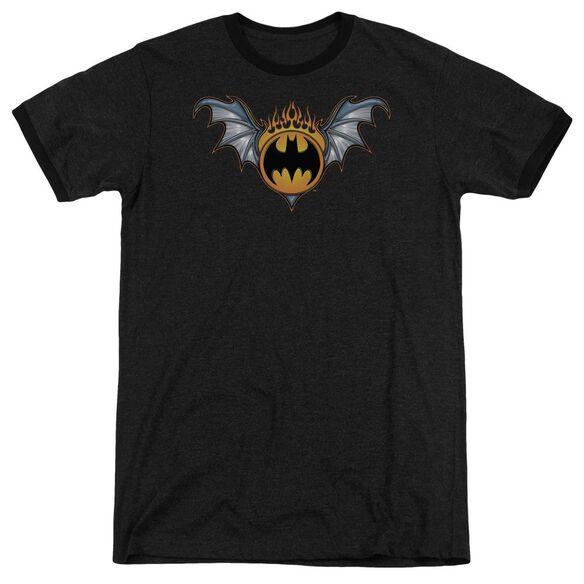 Batman Bat Wings Logo Adult Heather Ringer