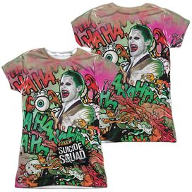 Suicide Squad Joker Psychedelic Cartoon (Front Back Print) Short Sleeve Junior Poly Crew T-Shirt