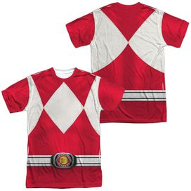 Power Rangers Red Ranger (Front Back Print) Short Sleeve Adult Poly Crew T-Shirt