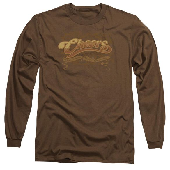 CHEER CROLLED LOGO - L/S ADULT 18/1 - COFFEE T-Shirt