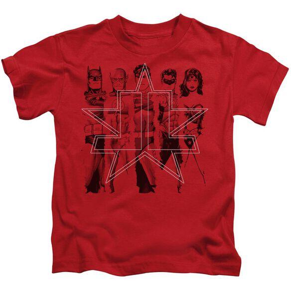 Jla Five Stars Short Sleeve Juvenile Red T-Shirt