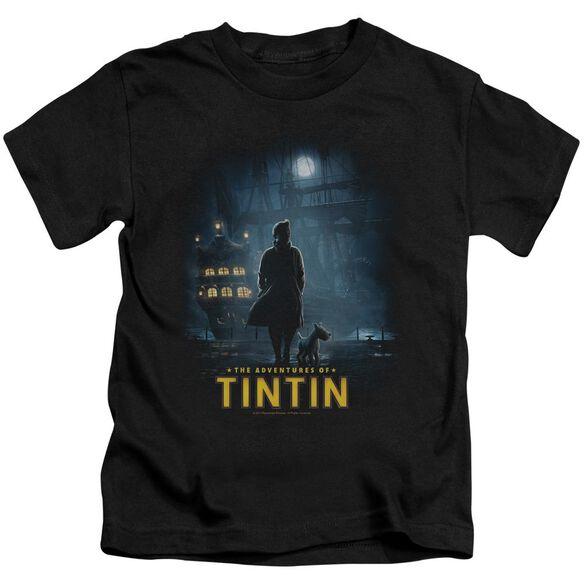 Tintin Title Poster Short Sleeve Juvenile Black T-Shirt