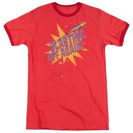 Astro Pop Blast Off Adult Heather Ringer Red