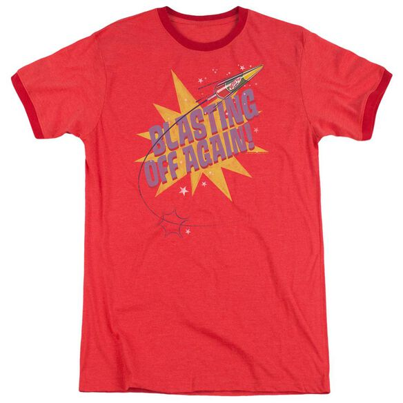 Astro Pop Blast Off Adult Heather Ringer Red