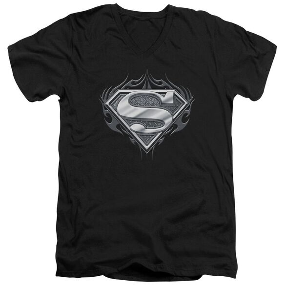 Superman Biker Metal Short Sleeve Adult V Neck T-Shirt