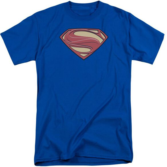 Man Of Steel New Solid Shield Short Sleeve Adult Tall Royal T-Shirt
