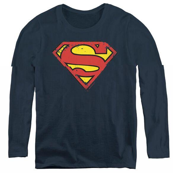 Superman Distressed Shield - Womens Long Sleeve Tee - Navy