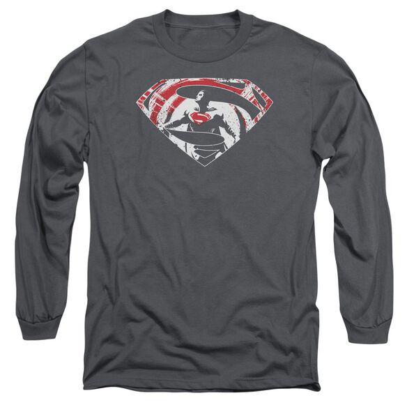 Batman V Superman Super Splatter Logo Long Sleeve Adult T-Shirt
