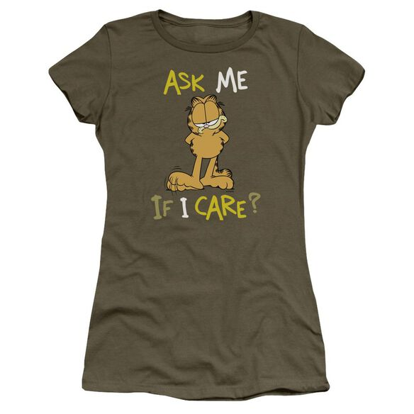 Garfield Ask Me If I Care Short Sleeve Junior Sheer Military T-Shirt