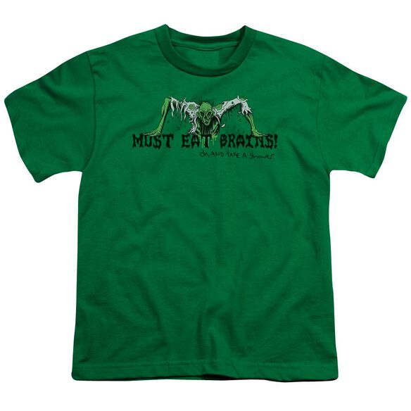 MUST EAT BRAINS - YOUTH 18/1 - KELLY GREEN T-Shirt