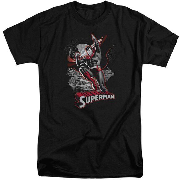 Jla Superman Red & Gray Short Sleeve Adult Tall T-Shirt