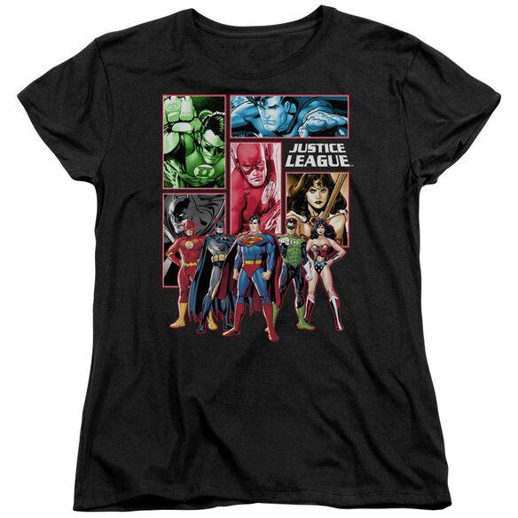 Jla Justice League Panels Short Sleeve Womens Tee T-Shirt