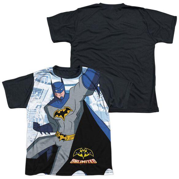 Batman Unlimited Tech Cave Short Sleeve Youth Front Black Back T-Shirt