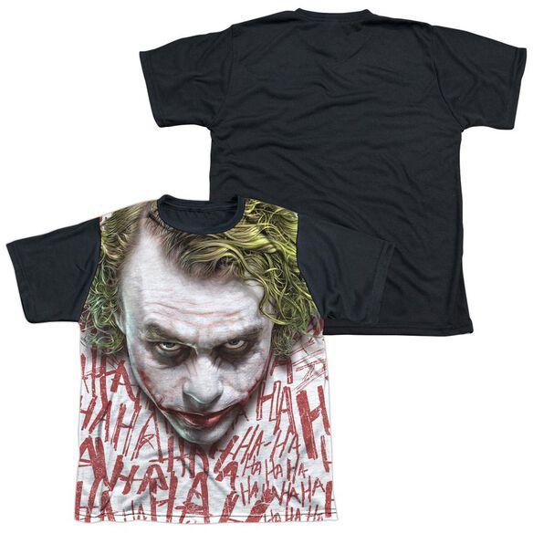 Dark Knight Joker Face Short Sleeve Youth Front Black Back T-Shirt