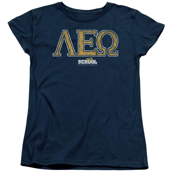 Old School Leo Short Sleeve Womens Tee Navy T-Shirt