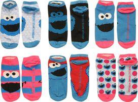 Sesame Street Cookie 6 Pair Low Cut Socks Set
