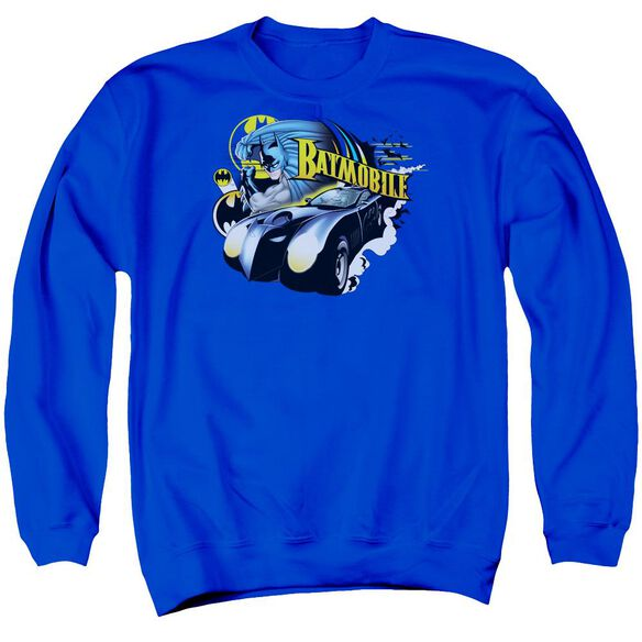 Batman Batmobile Adult Crewneck Sweatshirt Royal