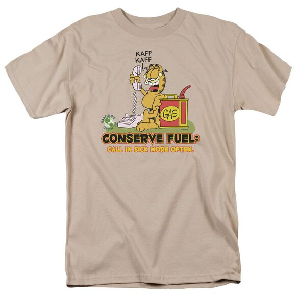 Garfield Call In Sick Short Sleeve Adult Sand T-Shirt
