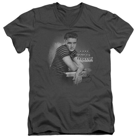 Elvis Trouble Short Sleeve Adult V Neck T-Shirt