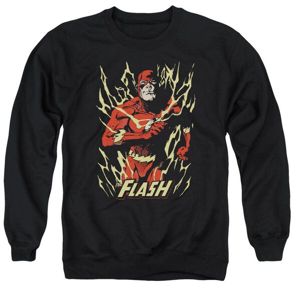 Jla Flash Flare Adult Crewneck Sweatshirt