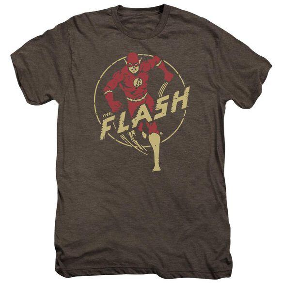 Dc Flash Comics Short Sleeve Adult Premium Tee Mocha T-Shirt