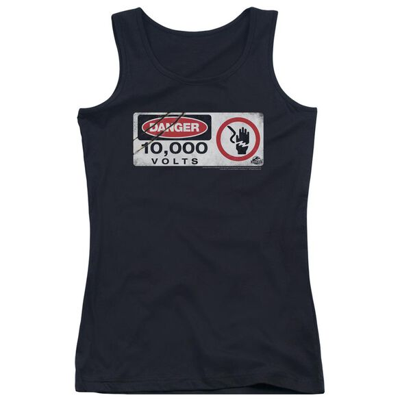 Jurassic Park Electric Fence Sign Juniors Tank Top