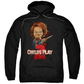 CHILDS PLAY 2 HERES CHUCKY - ADULT PULL-OVER HOODIE - Black